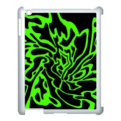 Green And Black Apple Ipad 3/4 Case (white) by Valentinaart