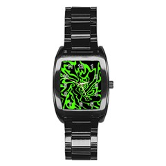 Green And Black Stainless Steel Barrel Watch by Valentinaart