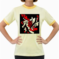 Red, Black And White Decor Women s Fitted Ringer T Shirts by Valentinaart