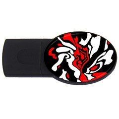 Red, Black And White Decor Usb Flash Drive Oval (2 Gb)  by Valentinaart