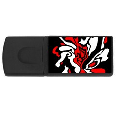 Red, Black And White Decor Usb Flash Drive Rectangular (4 Gb)  by Valentinaart