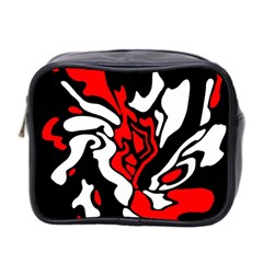 Red, Black And White Decor Mini Toiletries Bag 2 Side by Valentinaart