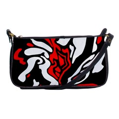 Red, Black And White Decor Shoulder Clutch Bags by Valentinaart