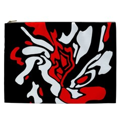 Red, Black And White Decor Cosmetic Bag (xxl)  by Valentinaart