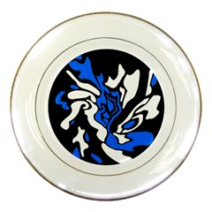 Blue, Black And White Decor Porcelain Plates by Valentinaart