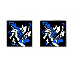 Blue, Black And White Decor Cufflinks (square) by Valentinaart