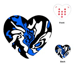 Blue, Black And White Decor Playing Cards (heart)  by Valentinaart