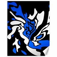 Blue, Black And White Decor Canvas 12  X 16   by Valentinaart