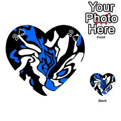 Blue, Black And White Decor Playing Cards 54 (heart)  by Valentinaart