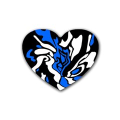 Blue, Black And White Decor Rubber Coaster (heart)  by Valentinaart