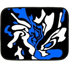 Blue, Black And White Decor Double Sided Fleece Blanket (mini)  by Valentinaart