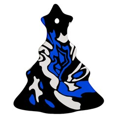 Blue, Black And White Decor Ornament (christmas Tree) by Valentinaart