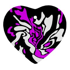 Purple, White And Black Decor Ornament (heart)  by Valentinaart