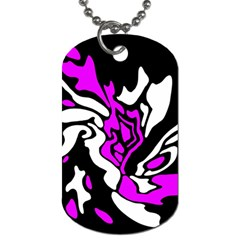 Purple, White And Black Decor Dog Tag (two Sides) by Valentinaart