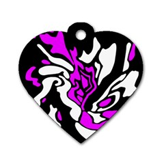 Purple, White And Black Decor Dog Tag Heart (one Side) by Valentinaart