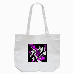 Purple, White And Black Decor Tote Bag (white) by Valentinaart