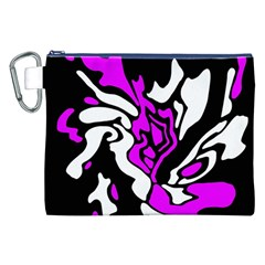 Purple, White And Black Decor Canvas Cosmetic Bag (xxl) by Valentinaart