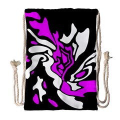 Purple, White And Black Decor Drawstring Bag (large) by Valentinaart