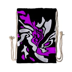 Purple, White And Black Decor Drawstring Bag (small) by Valentinaart