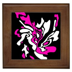 Magenta, Black And White Decor Framed Tiles by Valentinaart