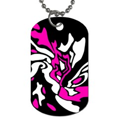 Magenta, Black And White Decor Dog Tag (two Sides) by Valentinaart