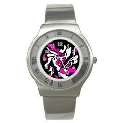 Magenta, Black And White Decor Stainless Steel Watch by Valentinaart