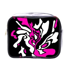 Magenta, Black And White Decor Mini Toiletries Bags by Valentinaart