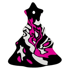 Magenta, Black And White Decor Christmas Tree Ornament (2 Sides) by Valentinaart