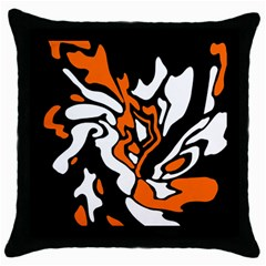 Orange, White And Black Decor Throw Pillow Case (black) by Valentinaart