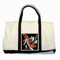 Orange, White And Black Decor Two Tone Tote Bag by Valentinaart