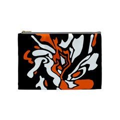 Orange, White And Black Decor Cosmetic Bag (medium)  by Valentinaart