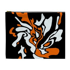 Orange, White And Black Decor Cosmetic Bag (xl) by Valentinaart