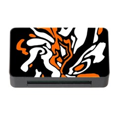 Orange, White And Black Decor Memory Card Reader With Cf by Valentinaart