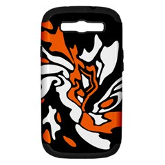 Orange, White And Black Decor Samsung Galaxy S Iii Hardshell Case (pc+silicone) by Valentinaart