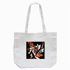 Orange, White And Black Decor Tote Bag (white) by Valentinaart