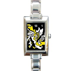 Yellow, Black And White Decor Rectangle Italian Charm Watch by Valentinaart