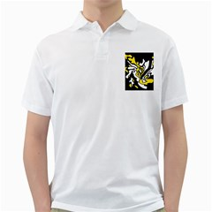 Yellow, Black And White Decor Golf Shirts by Valentinaart