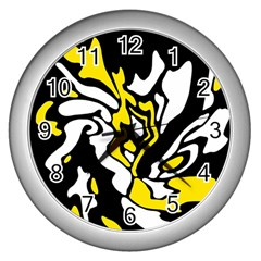 Yellow, Black And White Decor Wall Clocks (silver)  by Valentinaart