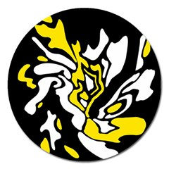 Yellow, Black And White Decor Magnet 5  (round) by Valentinaart