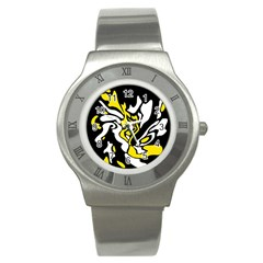 Yellow, Black And White Decor Stainless Steel Watch by Valentinaart