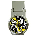 Yellow, black and white decor Money Clip Watches Front
