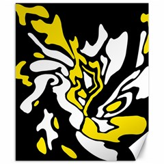 Yellow, Black And White Decor Canvas 8  X 10  by Valentinaart
