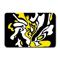 Yellow, Black And White Decor Small Doormat  by Valentinaart