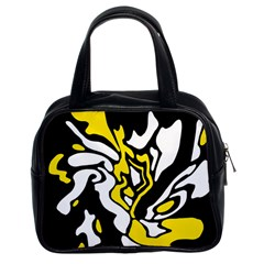 Yellow, Black And White Decor Classic Handbags (2 Sides) by Valentinaart