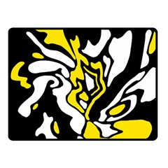 Yellow, Black And White Decor Fleece Blanket (small) by Valentinaart