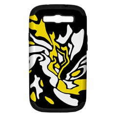 Yellow, Black And White Decor Samsung Galaxy S Iii Hardshell Case (pc+silicone) by Valentinaart