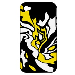 Yellow, Black And White Decor Apple Iphone 4/4s Hardshell Case (pc+silicone) by Valentinaart
