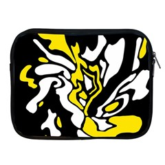 Yellow, Black And White Decor Apple Ipad 2/3/4 Zipper Cases by Valentinaart