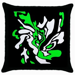 Green, White And Black Decor Throw Pillow Case (black) by Valentinaart