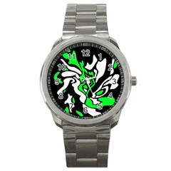 Green, White And Black Decor Sport Metal Watch by Valentinaart
